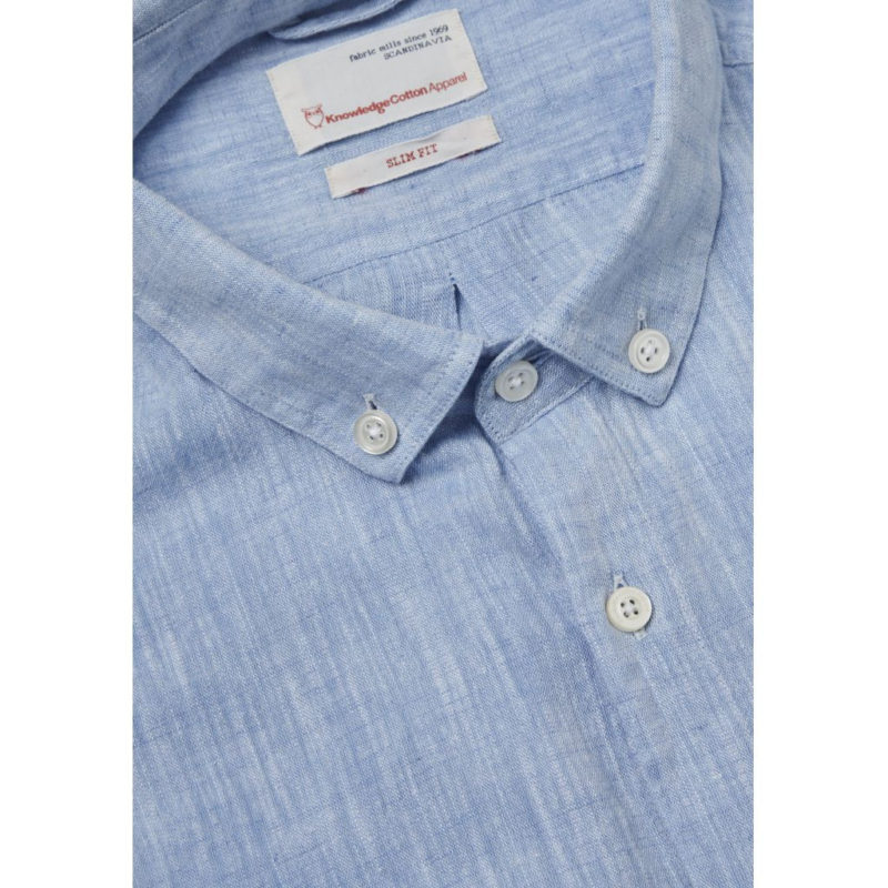 CottonLinen Shirt- GOTS Placid Blue2