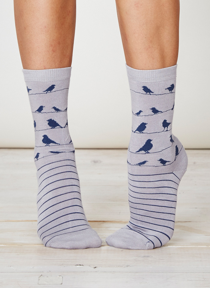 SPW234-Birdie-Bamboo-Socks-Taupe-Front