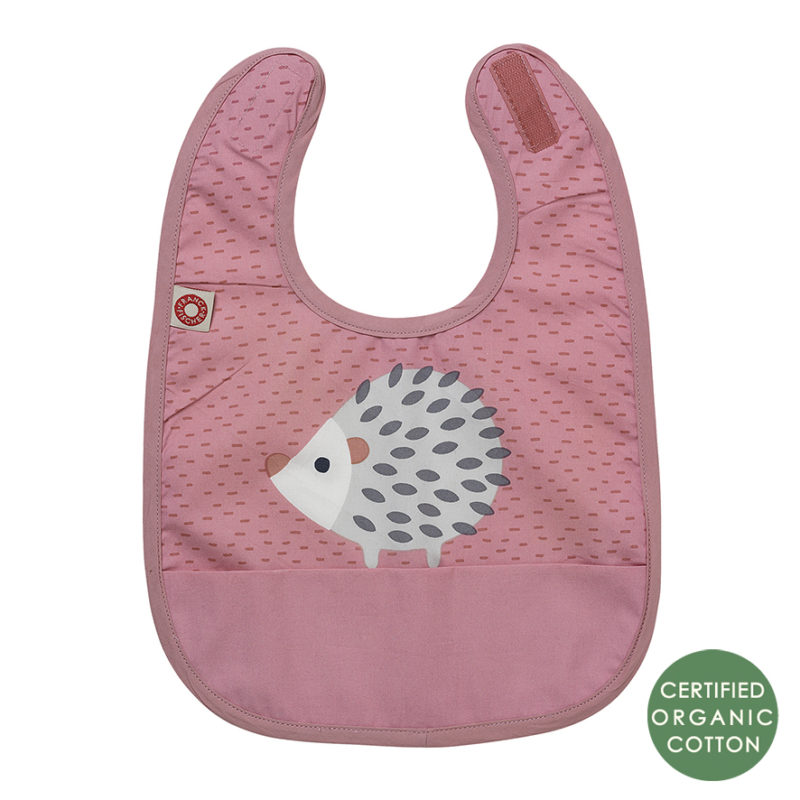 Eat-pink-hedgehog-bib
