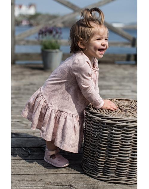 LEIJA klänning i ekologisk bomull - Print Vintage pink 5