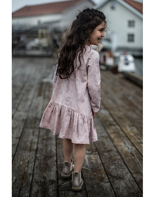 LEIJA klänning i ekologisk bomull - Print Vintage pink 9