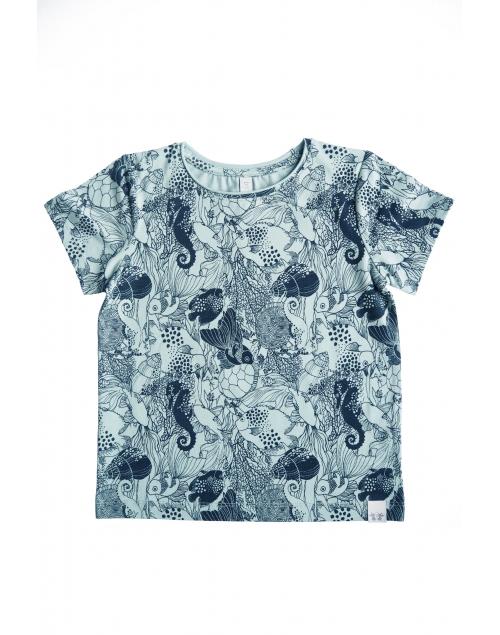 TOM T-shirt i ekologisk bomull - Print Mint Navy blue