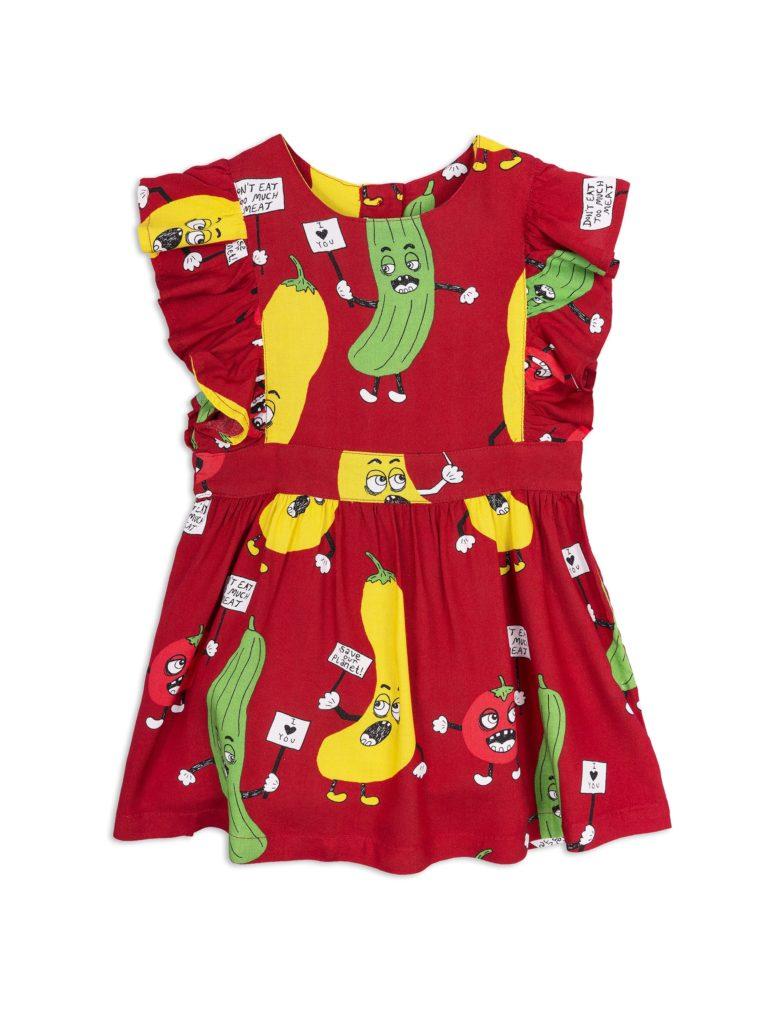 1825010042 1 mini rodini veggie woven ruffled dress red