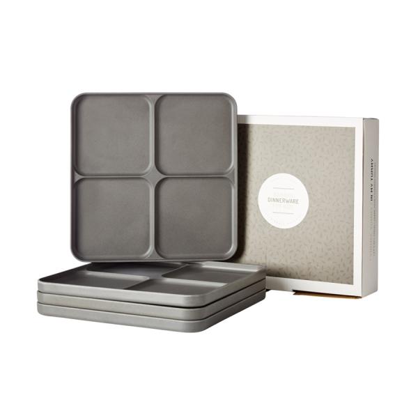 4del tallrik grå